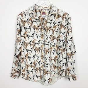 VINTAGE Barn Fly Horse Print Shirt S Button Down